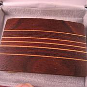 Wood Inlay Ampersand Brass Belt Buckle