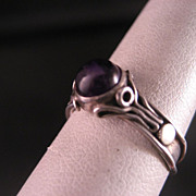 Sterling Silver Amethyst Hand Fabricated ring size 6 1/2