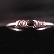 Sterling Silver Kabana Black Onyx Bangle Bracelet Circa 1980