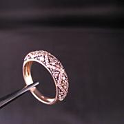 Multi Stone Diamond and 14 k Yellow gold Band Size 7