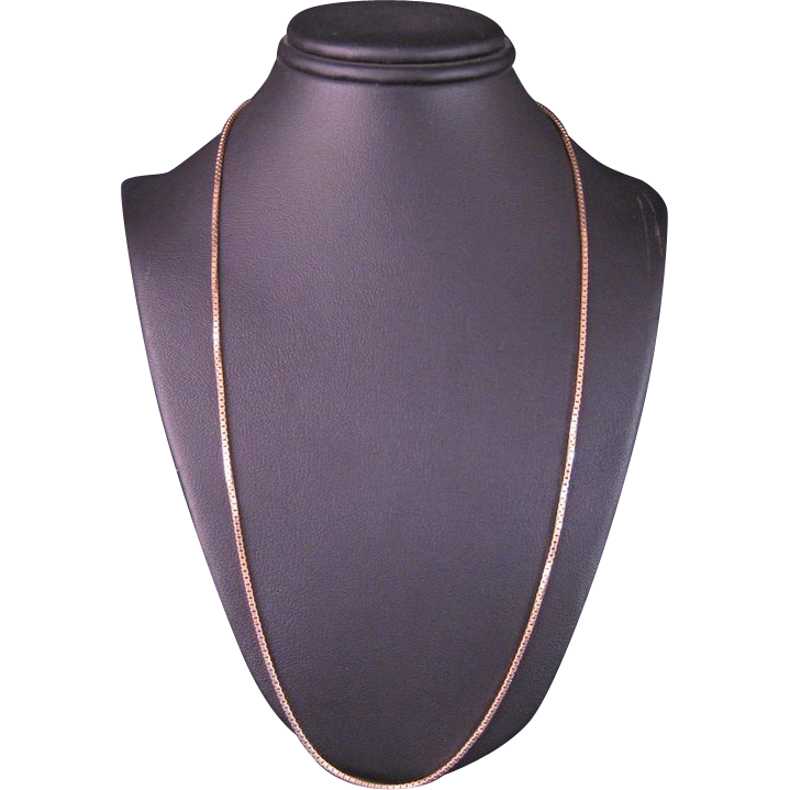14 k yellow gold solid box chain 16 inch from silverliningjewelers on