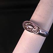 Dolphin Mother and baby Sterling Silver Ring Signed