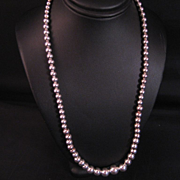 Vintage Sterling Silver Tapered Bead Necklace