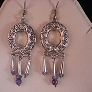 Vintage Sajen Sterling Silver Amethyst Blue Topaz Earrings