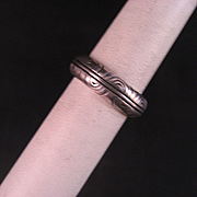 Vintage Etched Sterling Silver Band