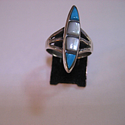 Vintage Native American Sterling Turquoise Mother of Pearl Ring
