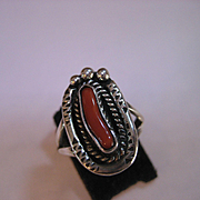 1960's Sterling Silver and Coral Native American ring