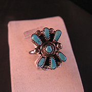 Vintage Sterling Silver Turquoise Zuni style Ring