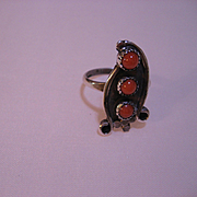 Vintage Native American Sterling Silver and Coral Ring