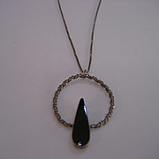 Vintage Southwest  Sterling Teardrop Black Onyx Necklace
