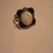Vintage Mother of Pearl and Sterling Silver Native American Ring