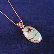 Sterling Silver and Chinese Turquoise Pendant and Chain