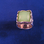 Vintage Green Quartz And Sterling Silver Ring