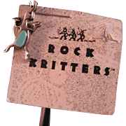 Native American Rock Kritter Sterling Silver and Turquoise Pin