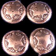 Vintage Sterling Silver Star Design Buttons Set of 4