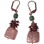 Vintage Sterling , Freshwater pearl, Garnet and Chinese Turquoise Earrings