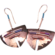 Vintage Sterling Hand Signed Silver Holly Yashi Earrings