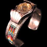 Vintage Navajo Sterling Silver Beaded Ladies Watch Cuff Bracelet