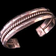 Vintage Southwest Navajo Style Sterling Silver Cuff Bracelet