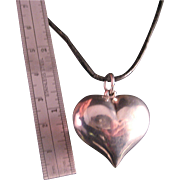 Vintage Sterling Silver Puffed Heart Necklace