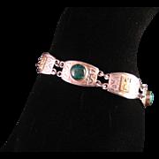 Vintage Sterling Silver Chrysocolla Mayan Design Bracelet