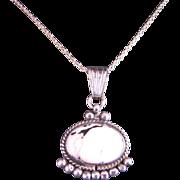 Vintage Sterling Silver White Buffalo Pendant Necklace