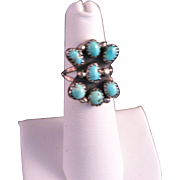 Vintage Zuni Sterling Silver Turquoise Cluster Ring