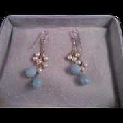 Vintage Sterling Silver Blue Chalcedony Briolette Pearl Earrings
