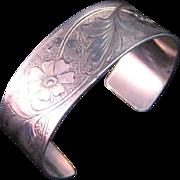 Sterling Silver Floral Design Cuff Bracelet