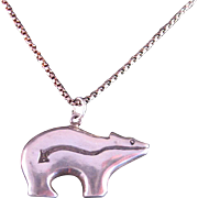 Vintage Bear Fetish Sterling Silver Necklace