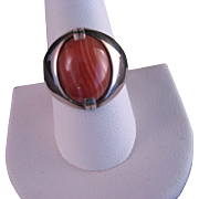 Vintage Rhodochrosite Sterling Silver Ring