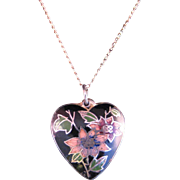 Vintage Cloisonne Pendant with 14 K Yellow gold Chain