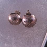 Vintage Engraved Sterling Silver Earrings