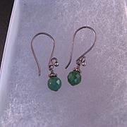 Vintage  Sterling Silver Chrysoprase Dangle Earrings