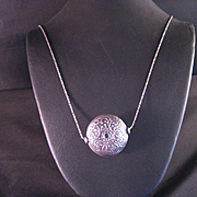 Vintage Sterling Silver Reversible Engraved Bead Pendant and Chain