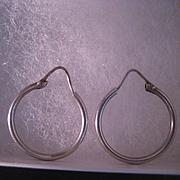 Vintage Sterling Silver Hoop Earring