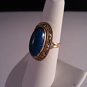 Vintage 14 K Gold And Lapis Ring