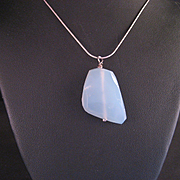 Vintage Blue Chalcedony Gem Stone Pendant and Sterling Chain
