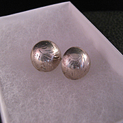 Vintage Sterling Silver Engraved Earrings