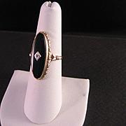Ladies Vintage Black Onyx Gold Ring