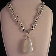 Vintage Green Quartz and Rice Pearl Necklace
