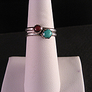 Vintage Sterling Silver Turquoise and Carnelian Rings