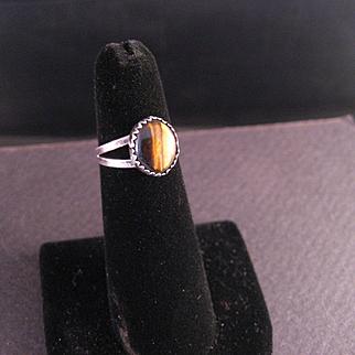 "Vintage 70""s Sterling Silver Tiger Eye Ring"