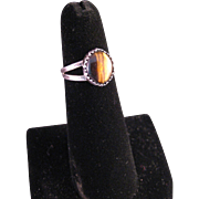 "Vintage 70""s Sterling Silver Tiger Eye Ring"