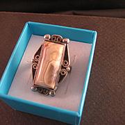 Vintage Sterling Silver Banded Agate Ring