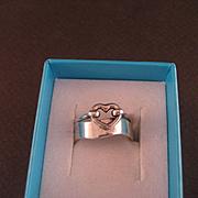 Vintage Sterling Silver Heart Band Ring Set
