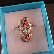 Southwest Vintage Coral, Turquoise and Sterling Silver Ring