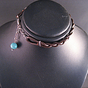 Vintage Braided Leather Turquoise and Sterling Silver Bracelet