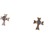 Vintage Opal and Gold Fill Cross Earrings