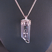 Vintage Crystal Ankh Pendant and Sterling Chain